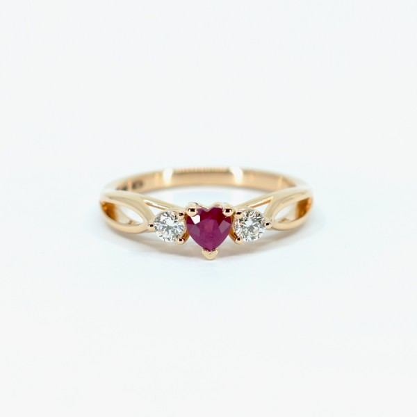 Gold engagement ring with Heart cut Ruby and Diamonds 122513RbHdi