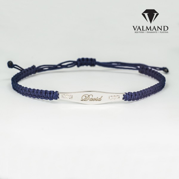 Personalized name bracelet from Gold or Platinum with Diamonds br903