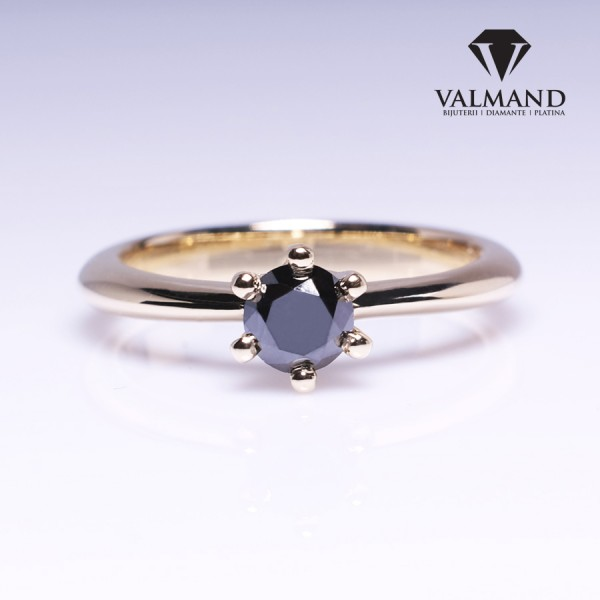 Gold or Platinum Tiffany model engagement ring with Black Diamond i168dn