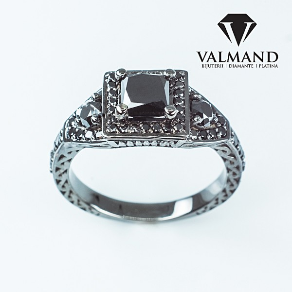 Gold or Platinum engagement ring with Black Diamond and secondary Black Diamonds i1323dnpdn