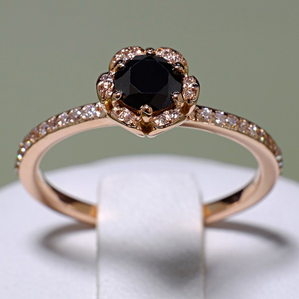 Gold or Platinum engagement ring with Black Diamond and Colorless Diamonds 121997DnDi
