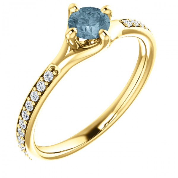 Gold or Platinum engagement ring with Blue Diamond and Colorless Diamonds 122392DbDi