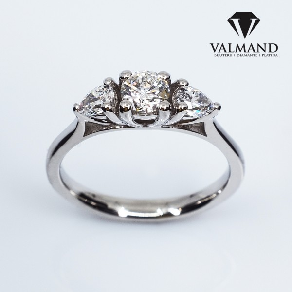 Gold or Platinum engagement ring with Round cut Diamond and Pear cut Diamonds i1339didipa