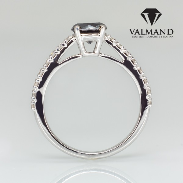 Tiffany Novo model engagement ring from Gold or Platinum with Black Diamond and Colorless Diamonds i645DnDi