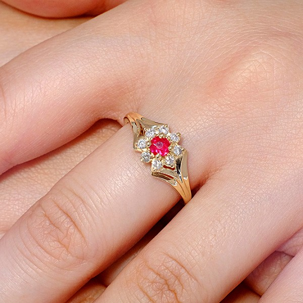 Gold engagement ring with Ruby and Diamonds i006RbDi