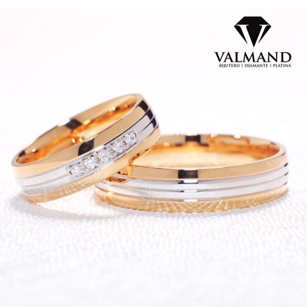 Two-Tone Gold wedding bands with Diamonds v072