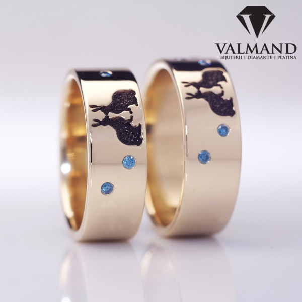 Gold or Platinum wedding rings with Diamonds Rabbit design v1252