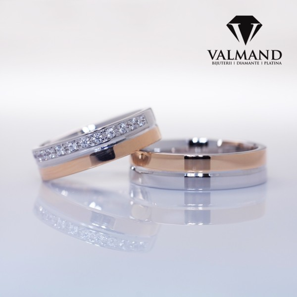 Two-Tone Gold or Platinum wedding bands with Diamonds v172