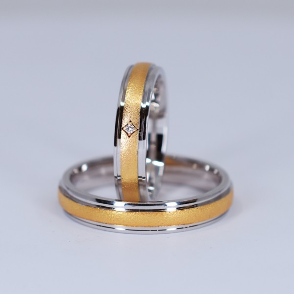 Gold or Platinum wedding bands with Diamond v523