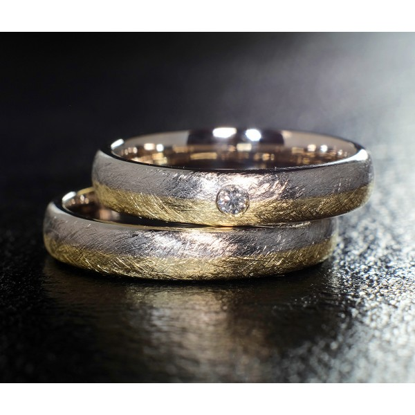 Two-Tone Gold wedding bands with Diamond v873